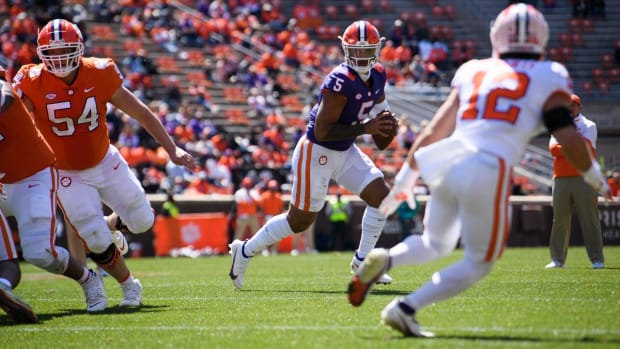 Quarterback D.J. Uiagalelei looks for an open receiver in the 2021 Clemson Spring Game.
