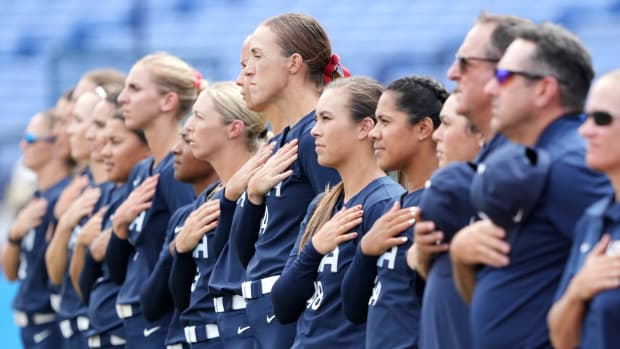 USA Softball lines up before its game against Japan.