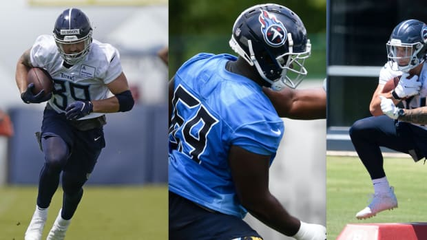 Tennessee Titans players Tommy Hudson (left), NaQuan Jones (center) and Tory Carter (right).