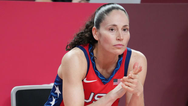 USA player Sue Bird (6) is seen on the bench as USA plays Nigeria during the Tokyo 2020 Olympic Summer Games at Saitama Super Arena.