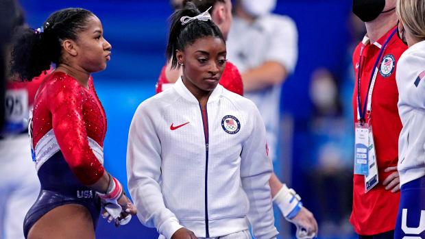 Simone Biles during the team gymnastics event.