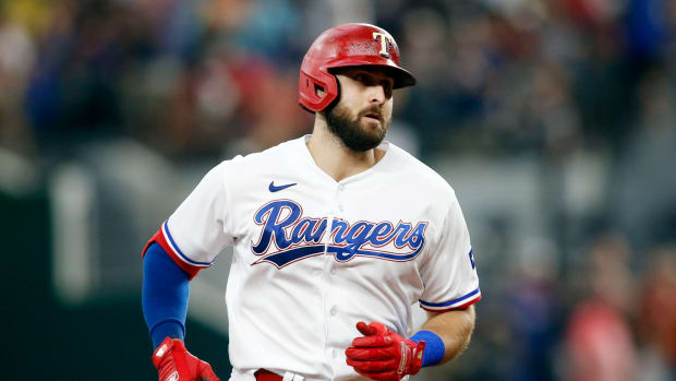 Jul 7, 2021; Arlington, Texas, USA; Texas Rangers right fielder Joey Gallo (13) rounds the bases after hitting a home run in the fourth inning against the Detroit Tigers at Globe Life Field.