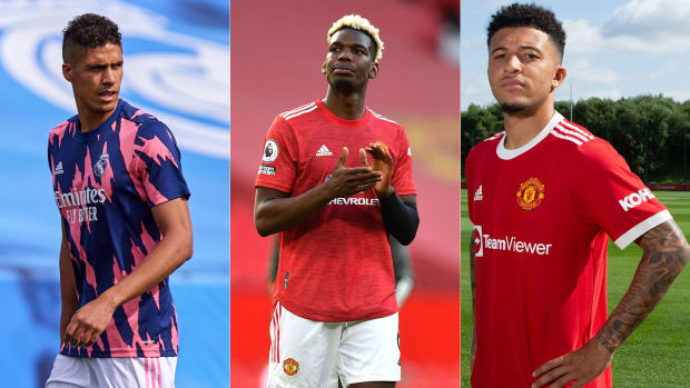 Raphael Varane and Jadon Sancho are headed to Man United but Paul Pogba's future is in question
