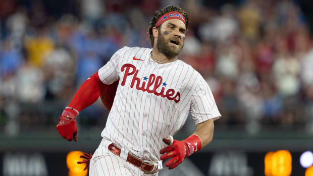 Jul 27, 2021; Philadelphia, Pennsylvania, USA; Philadelphia Phillies right fielder Bryce Harper (3) runs the bases on his way to an inside the park home run against the Washington Nationals during the fifth inning at Citizens Bank Park.