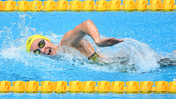 TOKYO, July 27, 2021 (Xinhua) -- Ariarne Titmus of Australia competes during women's 200m freestyle semifinal at the Tokyo 2020 Olympic Games in Tokyo, Japan, July 27, 2021.