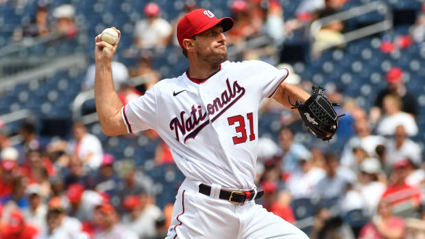 Washington Nationals starting pitcher Max Scherzer (31) throws to the San Diego Padres during the first inning at Nationals Park.