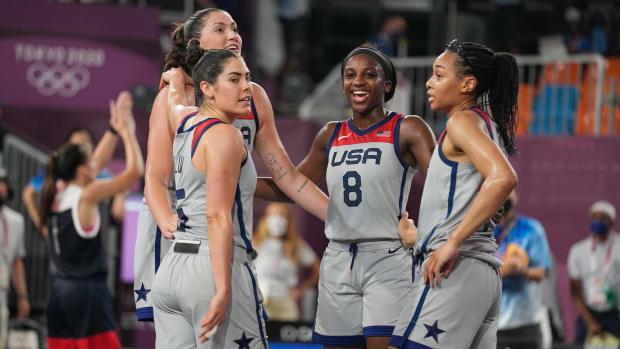 Team USA celebrates its 3x3 win.