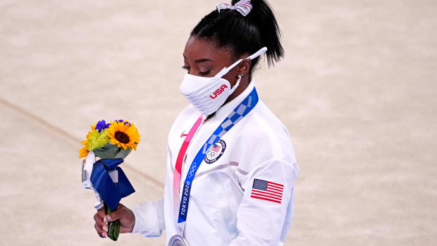 Simone Biles at the medal ceremony.