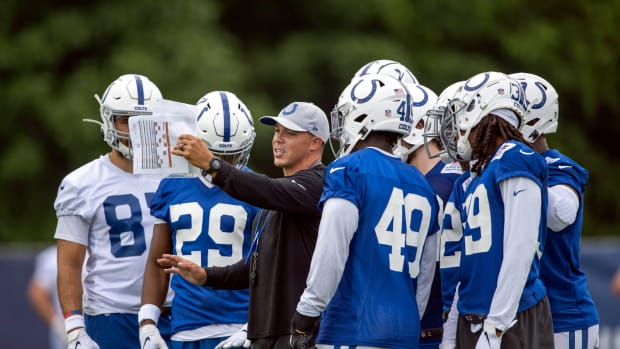 Jul 28, 2021; Westfield, IN, United States; Indianapolis Colts listen to one of the coaches at Grand Park.