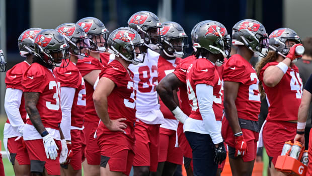 May 15, 2021; Tampa Bay, Florida, USA; Tampa Bay Buccaneers players look on during rookie mini-camp at AdventHealth Training Center Mandatory Credit: Douglas DeFelice-USA TODAY Sports