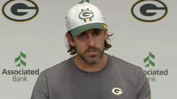 Aaron Rodgers at first press conference of 2021 NFL season