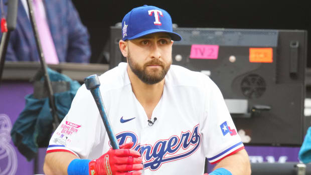 Texas Rangers right fielder Joey Gallo watches during the 2021 MLB Home Run Derby.