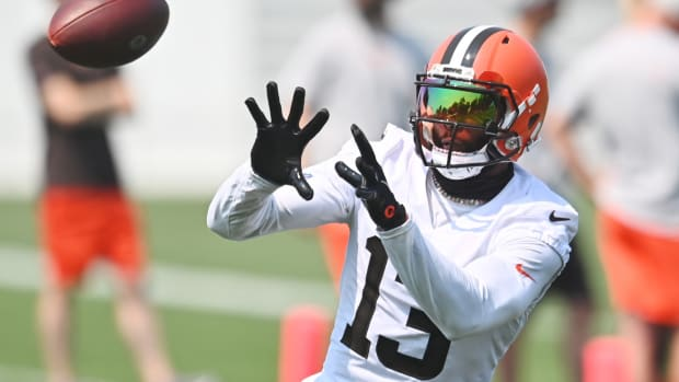 Jul 28, 2021; Berea, Ohio, USA; Cleveland Browns wide receiver Odell Beckham Jr. (13) catches a pass during training camp at CrossCountry Mortgage Campus. Mandatory Credit: Ken Blaze-USA TODAY Sports