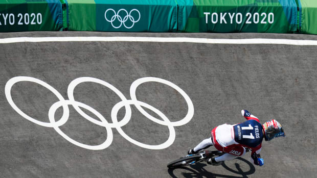 Jul 29, 2021; Tokyo, Japan; Connor Fields (USA) races in the quarterfinals of BMX racing during the Tokyo 2020 Olympic Summer Games at Ariake Urban Sports Park.