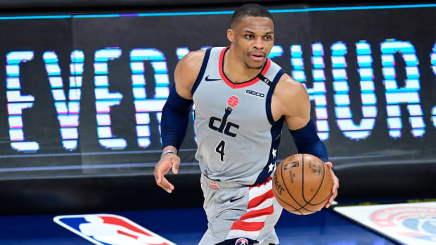 May 31, 2021; Washington, District of Columbia, USA; Washington Wizards guard Russell Westbrook (4) dribbles during game four in the first round of the 2021 NBA Playoffs against the Philadelphia 76ers at Capital One Arena.