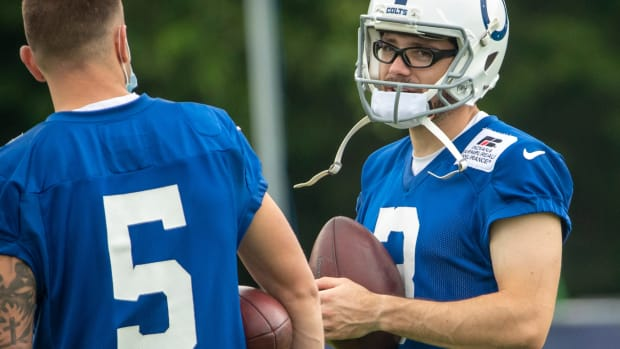 Indianapolis Colts kicker Eddy Pineiro (5) chats with Indianapolis Colts kicker Rodrigo Blankenship (3) at the start of practice at Grand Park in Westfield on Thursday, July 29, 2021, on the second full day of workouts of this summer's Colts training camp. Colts Camp Revs Up