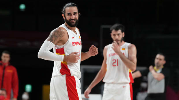 Jul 29, 2021; Saitama, Japan; Team Spain guard Ricky Rubio (9) reacts after making a three-point shot in the third quarter against Argentina during the Tokyo 2020 Olympic Summer Games at Saitama Super Arena.