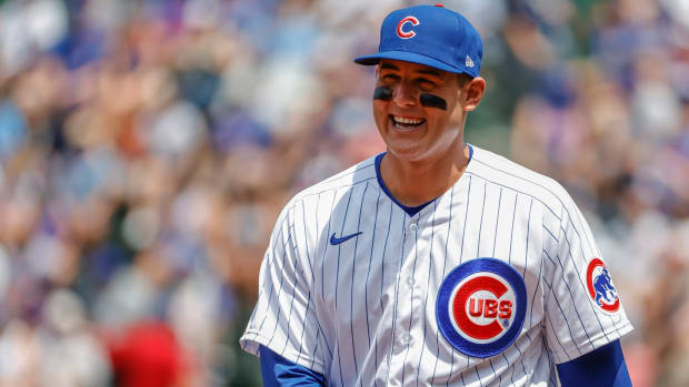 Jul 25, 2021; Chicago, Illinois, USA; Chicago Cubs first baseman Anthony Rizzo (44) smiles before a baseball game against the Arizona Diamondbacks at Wrigley Field.