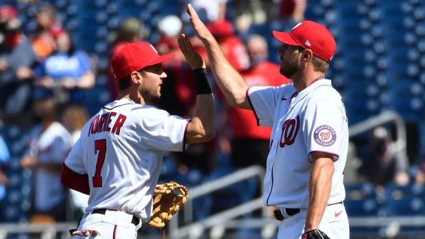 Dodgers acquire Max Scherzer, Trea Turner from Nationals at 2021 MLB trade deadline.