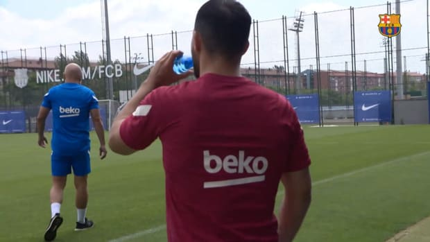 Sergio Aguëro's first training session with FC Barcelona