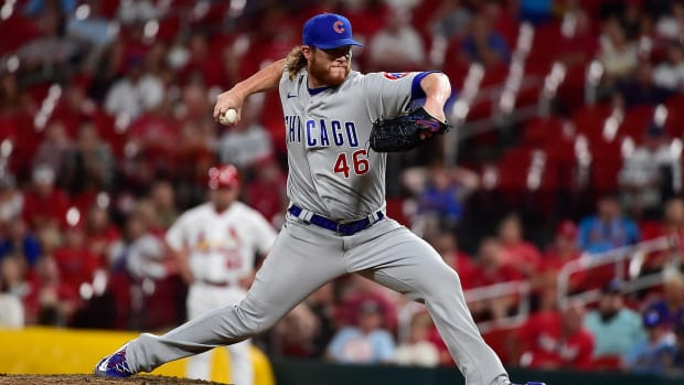 Jul 20, 2021; St. Louis, Missouri, USA; Chicago Cubs relief pitcher Craig Kimbrel (46) pitches during the ninth inning against the St. Louis Cardinals at Busch Stadium.