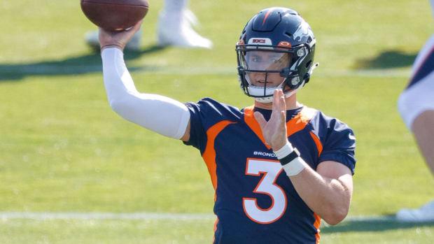 Denver Broncos quarterback Drew Lock (3) during training camp at UCHealth Training Complex.