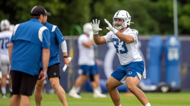 Jul 29, 2021; Westfield, IN, United States; Indianapolis Colts tight end Kylen Granson (83) at Grand Park. Mandatory Credit: Marc Lebryk-USA TODAY Sports