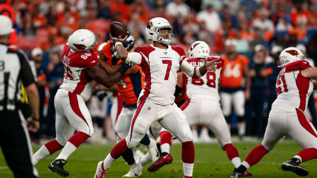 Aug 29, 2019; Denver, CO, USA; Arizona Cardinals quarterback Brett Hundley (7) looks to pass in the first quarter against the Denver Broncos at Broncos Stadium at Mile High. Mandatory Credit: Isaiah J. Downing-USA TODAY Sports