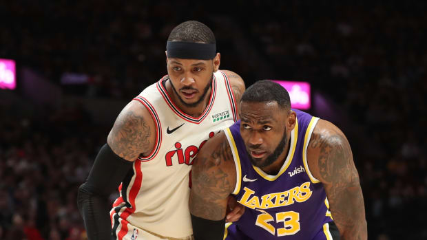 Carmelo Anthony (left) and LeBron James (right)