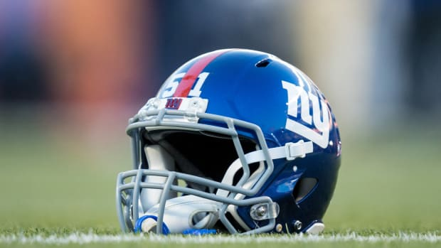 Oct 15, 2017; Denver, CO, USA; A general view of a New York Giants helmet on the turf before the game against the Denver Broncos at Sports Authority Field at Mile High.