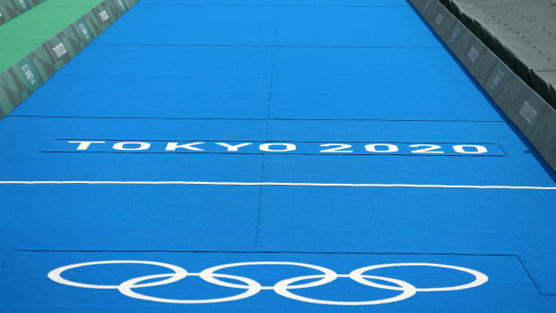 The Olympic logo in Tokyo.