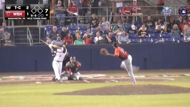 Washington Wild Things outfielder Grant Heyman hits a home run