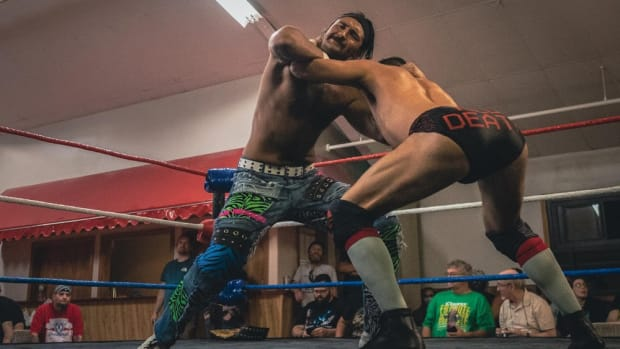 Anthony Greene wrestles Daniel Garcia at a Limitless Wrestling show in Maine