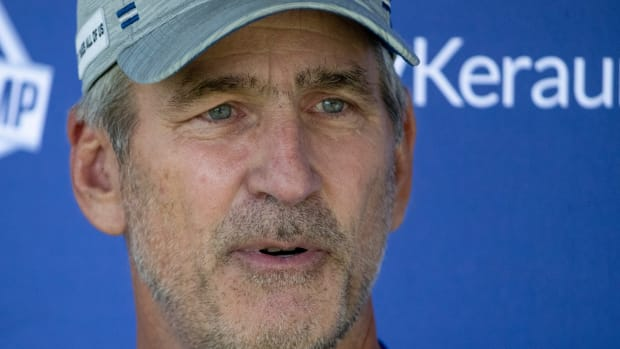 Indianapolis Colts head coach Frank Reich at Grand Park in Westfield on Monday, August 2, 2021, on the second week of workouts of this summer's Colts training camp. Head Coach Frank Reich reappeared at practice after being away for ten days after a COVID-19 positive test. Colts Get Their Coach Back On Week Two Of Colts Camp