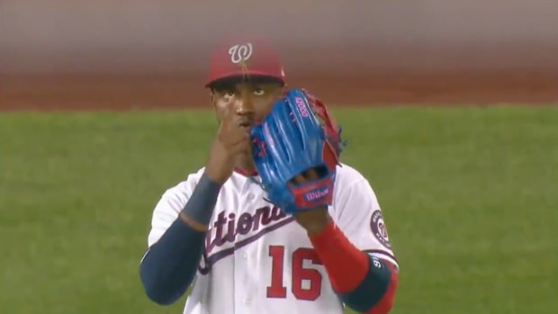 Victor Robles with a praying mantis on his hat