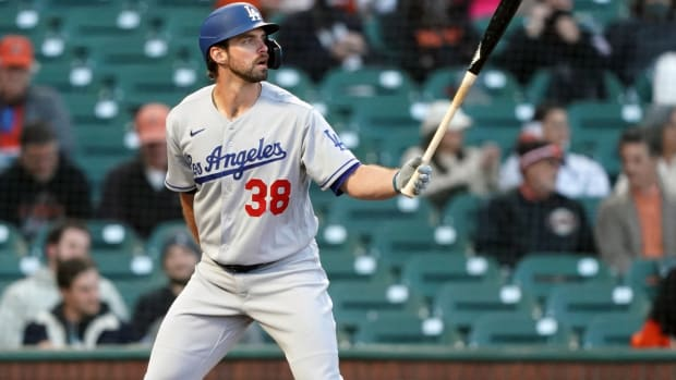 May 21, 2021; San Francisco, California, USA; Los Angeles Dodgers center fielder DJ Peters (38) bats during the fourth inning against the San Francisco Giants at Oracle Park.