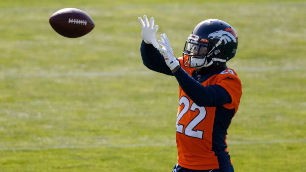 Denver Broncos safety Kareem Jackson (22) during training camp at UCHealth Training Center.