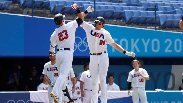 Team USA celebrates a home run.