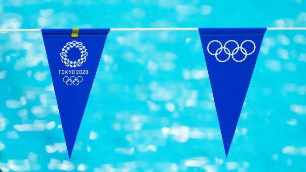 Flags at the Tokyo Aquatics Center.