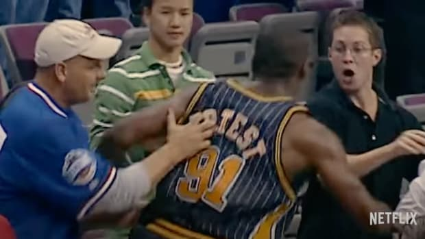 """Ron Artest with the Indiana Pacers during """"Malice at the Palace."""""""