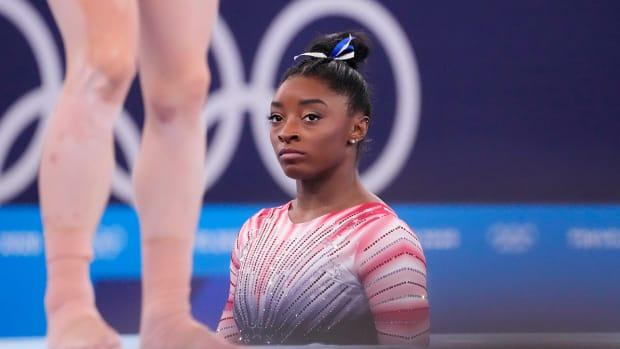 Simone Biles before the balance beam.