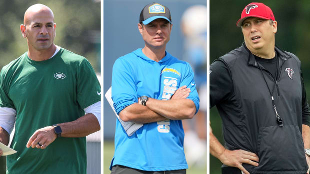 Separate photos of Jets coach Robert Saleh, Chargers coach Brandon Staley and Falcons coach Arthur Smith at training camp practices