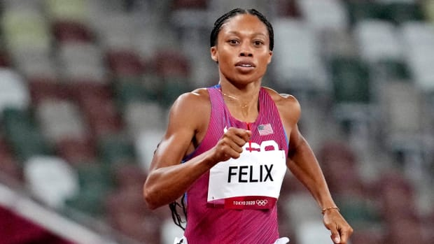 Allyson Felix competing at her fifth Olympics in Tokyo.