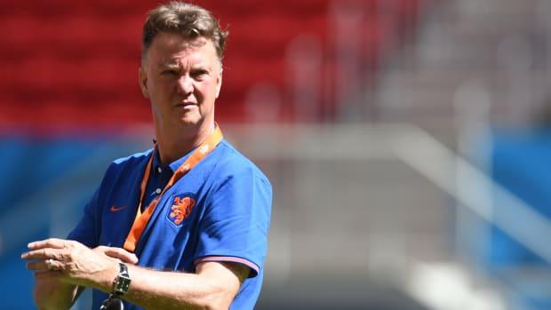 Louis van Gaal coaching for the Netherlands.