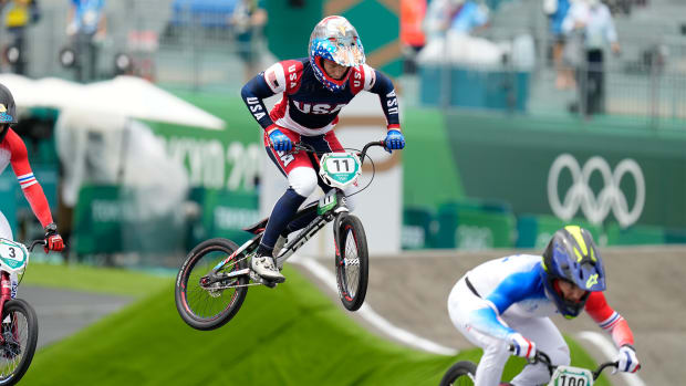 Jul 30, 2021; Tokyo, Japan; Connor Fields (USA) races during the men's BMX semifinal race during the Tokyo 2020 Olympic Summer Games at Ariake Urban Sports Park.