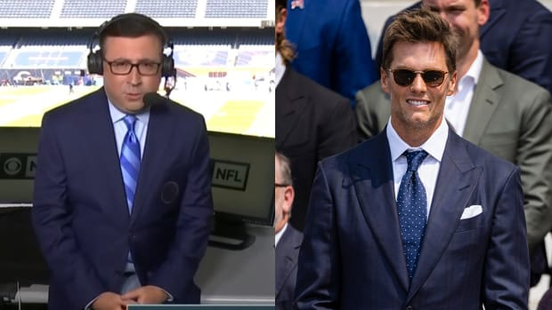 Play-by-play broadcaster Ian Eagle juxtaposed with Buccaneers quarterback Tom Brady