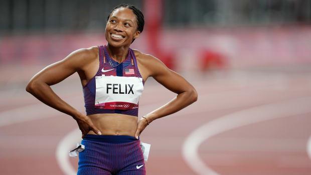 Allyson Felix after the 400m final.