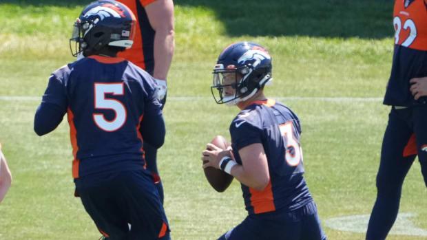 Denver Broncos quarterback Drew Lock (3) and quarterback Teddy Bridgewater (5) during an offseason workout at the UCHealth Training Center.
