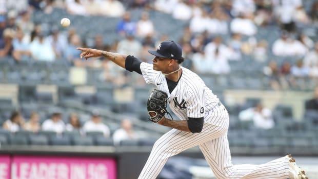 Luis Gil pitching at Yankee Stadium