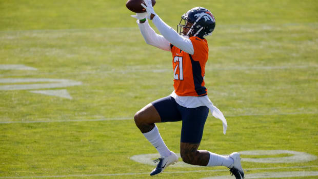 Denver Broncos cornerback Ronald Darby (21) during training camp at UCHealth Training Center.
